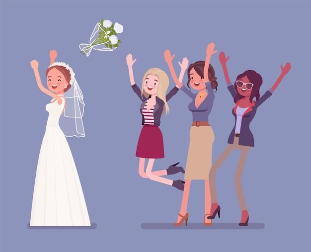 Bruid en bruidsmeisjes in boeket gooien traditie op huwelijksceremonie Premium Vector