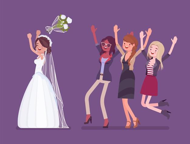 Bruid en bruidsmeisjes in de traditie van de boeketworp op de huwelijksceremonie