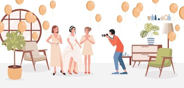 Bruid fotosessie vector vlakke afbeelding bruid in trouwjurk met