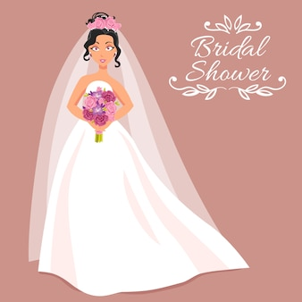 Bruid in witte jurk met boeket