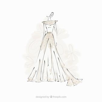 Bruid jurk schets