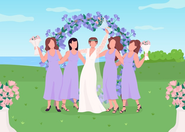 Bruid met bruidsmeisjes egale kleur illustratie