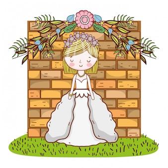 Bruid vrouwelijke schattige cartoon