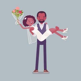 Bruidegom die bruid op huwelijksceremonie draagt