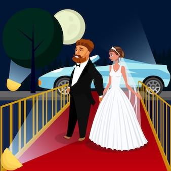 Bruidegom en bruid bij vip-gebeurtenis vectorillustratie.