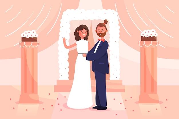 Bruidegom en bruid die illustratie huwen