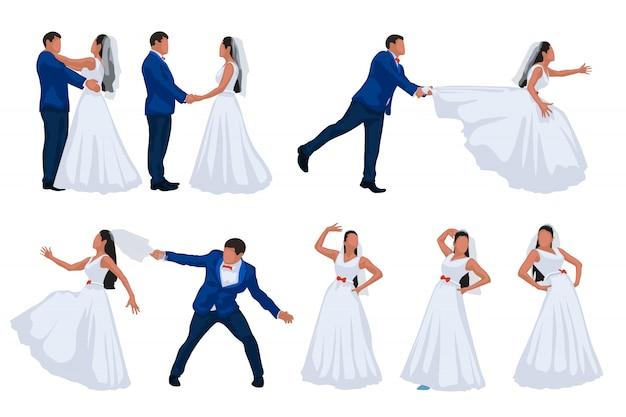 Bruidegom en bruid die op witte achtergrond wordt geplaatst