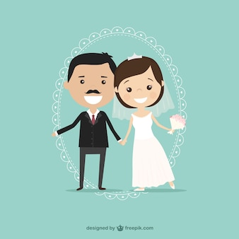 Bruidegom en bruid illustratie