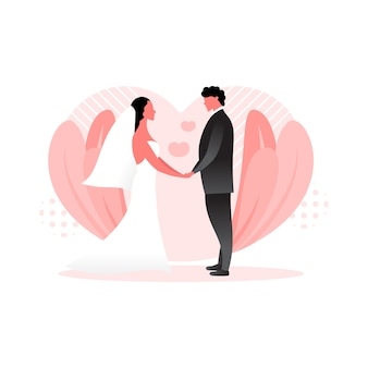 Bruidegom en bruid wedding concept illustratie