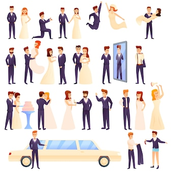 Bruidegom set, cartoon stijl