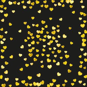 Bruids achtergrond met gouden glitter harten. valentijnsdag. vectorconfettien. hand getekende textuur. liefdesthema voor flyer, speciale zakelijke aanbieding, promo. bruids achtergrond sjabloon met hart.