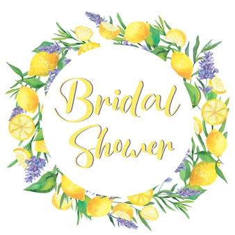 Bruids douche. citroenen en lavendel, krans. aquarel illustratie. geïsoleerd.