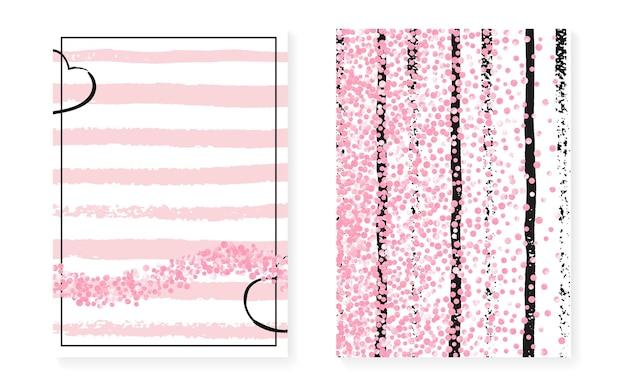 Bruids douche set met stippen en pailletten. bruiloft uitnodigingskaart met roze glitter confetti. verticale strepen achtergrond. retro vrijgezellenfeest set voor feest, evenement, save the date flyer.