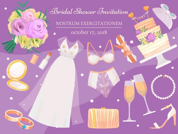 Bruids douche uitnodiging banner illustratie. huwelijksaccessoires zoals bloemboeket, jurk, bril met champagne, cake, ondergoed, schoenen, verlovingsringen, lippenstift.