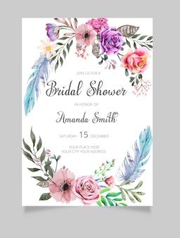 Bruids douche uitnodiging, bloemen uitnodiging, groen bridal douche uitnodigen
