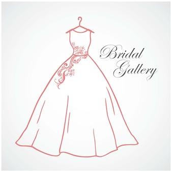 Bruids galerij logo bruiloft bruids boutique logo teken pictogram vector ontwerpsjabloon