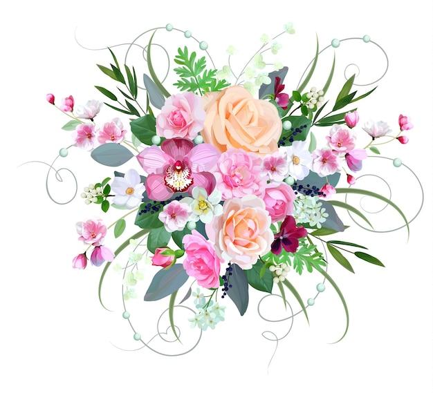 Bruidsboeket met rozen en orchidee