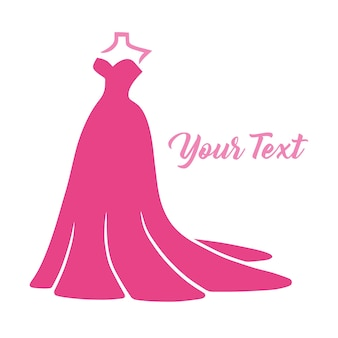 Bruidskleding trouwjurk boutique fashion logo design vector