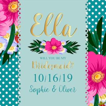 Bruidsmeisje bruiloft kaart