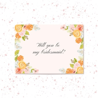 Bruidsmeisje kaart met florale frame aquarel