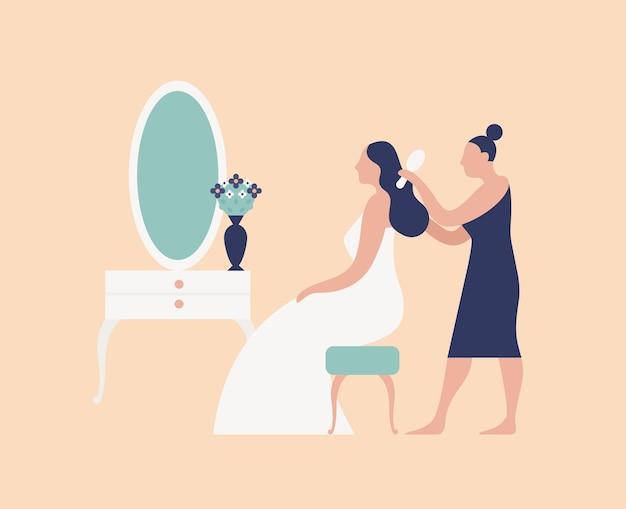 Bruidsmeisje, kapper of stylist die het haar van de bruid kamt en kapsel maakt. trouwdag ochtend bruids routine en voorbereiding voor ceremonie en feest. platte cartoon kleurrijke vectorillustratie.