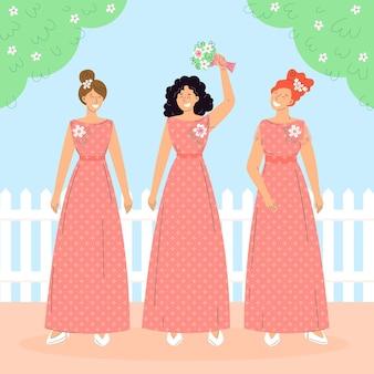 Bruidsmeisjes in prachtige jurken geïllustreerd