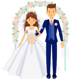 Bruidspaar, bruid en bruidegom onder de boog