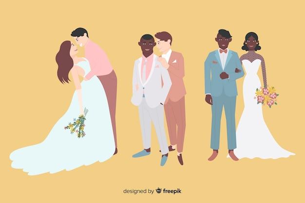 Bruidspaar collectie in plat ontwerp
