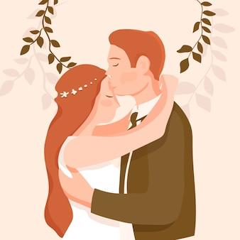 Bruidspaar en bladeren samen