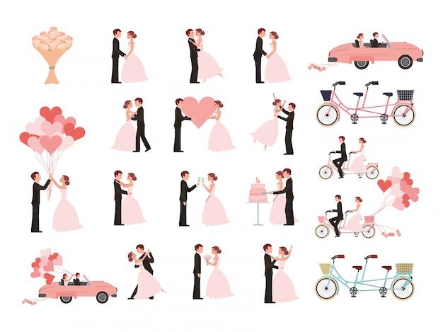 Bruidspaar en getrouwde pictogrammen
