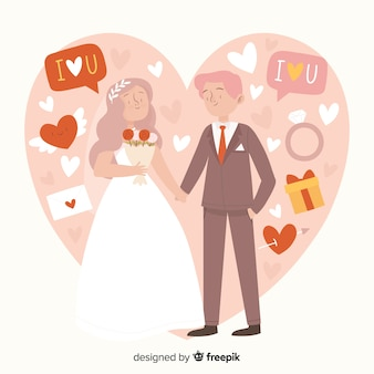 Bruidspaar hand getrokken stijl