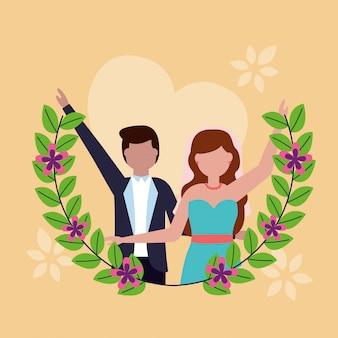 Bruidspaar in vlakke stijl