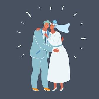 Bruidspaar kus pasgetrouwde