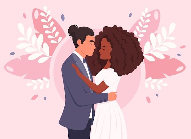 Bruidspaar man en zwarte vrouw trouwen jonggehuwden