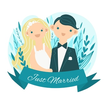 Bruidspaar met bruid en schattige kroon