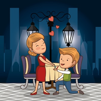 Bruidspaar met diner op straat 's nachts