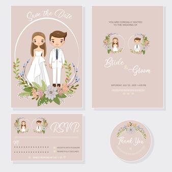 Bruidspaar met uitnodigingen kaartenset