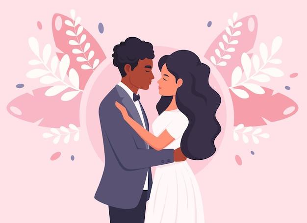 Bruidspaar zwarte man en vrouw trouwen jonggehuwden