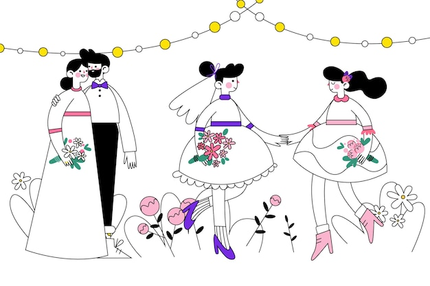 Bruidsparen illustratie