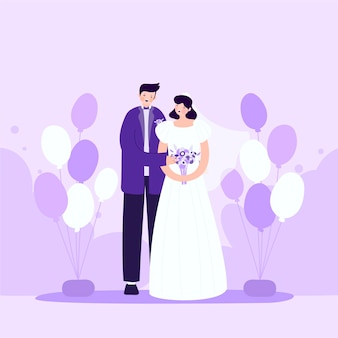 Bruidsparen in plat ontwerp