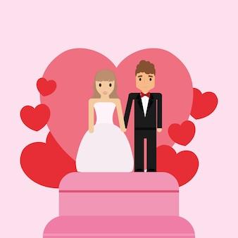 Bruidstaart met net getrouwd stel topper