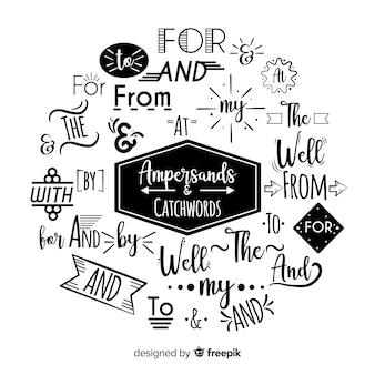 Bruiloft ampersands en steekwoorden belettering