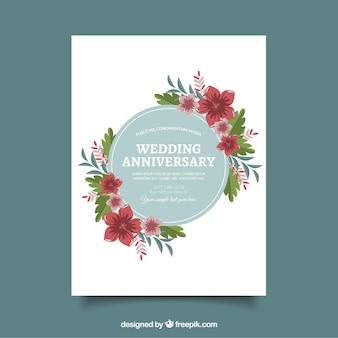 Bruiloft anniversaty kaart met bloemen