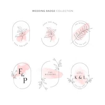 Bruiloft badge collectie