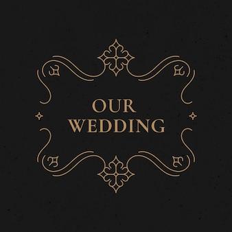 Bruiloft badge vector gouden vintage decoratieve stijl