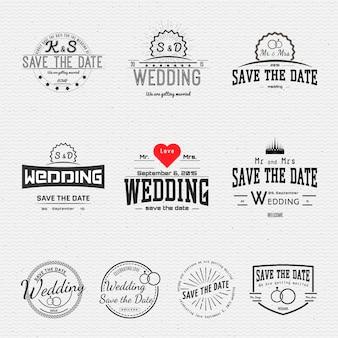 Bruiloft badges kaarten en labels