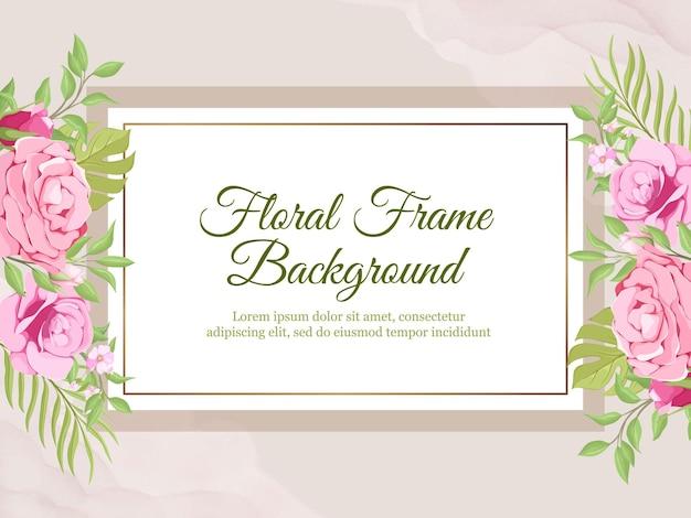Bruiloft banner achtergrond met rozen en bladeren