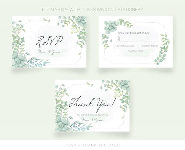 Bruiloft bedankkaart en rsvp met aquarel bladeren