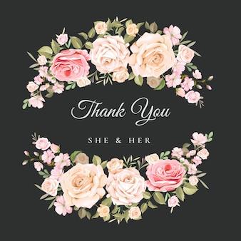 Bruiloft bedankkaart met prachtige bloemen sjabloon
