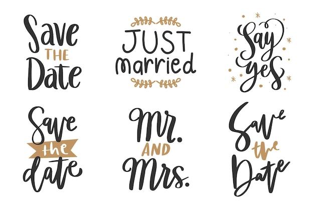 Bruiloft belettering bewaart de datum
